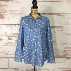 Old Navy Floral Chambray Button-Up Blouse